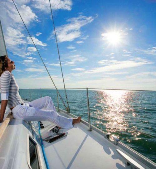 Sailing boat woman